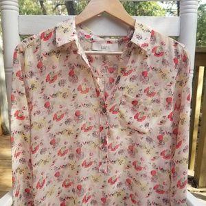 🍂 Ann Taylor LOFT poppy print henley blouse small